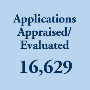 graphic block image, 16,629 Applications Appraised and Evaluated