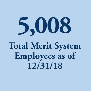 graphic block image, 5,008 Total Merit System Employees as of 12/31/18