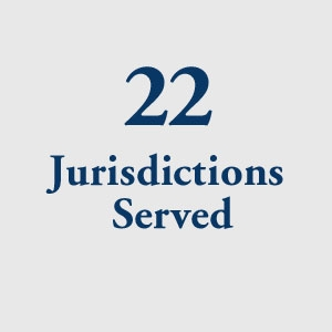 graphic block image, 22 Jurisdictions Served
