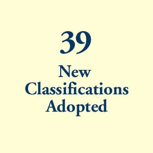 graphic block image, 39 New Classifications Adopted